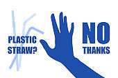 Say no to plastic straw. Problem plastic pollution. Ecological poster. Banner composed of blue plastic straw and hand sign stop on white background. Plastic straw, no thanks. Flat design.