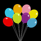 Bunch of balloons. Balloon set. Colorful transparent helium toy on string thread. Cute flying through the air, sky. Flat design. Isolated. Black background.