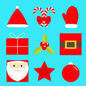 Merry Christmas New year icon set. Star, Santa Claus, holly berry, ball toy, gift box, candy cane with bow, golden belt, red hat, mitten. Cute cartoon kawaii baby character. Flat Blue background.