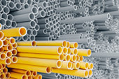 Yellow PVC pipes for electric conduit