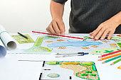 Landscape architect design backyard pool plan for hotel
