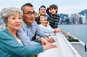 Chinese Family Enjoying Views on City Break in Hong Kong