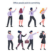 Business people pointing up something. Female and male business