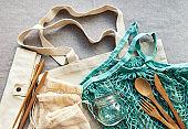 Mesh bag, cotton bags and glass jars