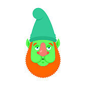 Garden gnome Nausea emoji. dwarf Sick emotions avatar. ill Vector illustration