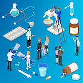 Medicine and healthcare concept. Doctor make medical research in hospital. Illness