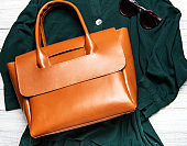 Brown leather women's bag