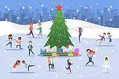 Cute romantic couples and professional skaters skate outdoors on the ice. Winter activity