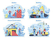 House building concept. Workers constructing home with tools and materials. Process of