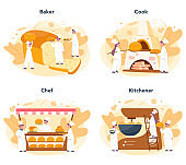 Baker and bakery concept set. Chef in the uniform baking bread. Baking pastry process.