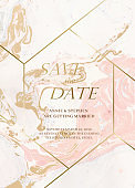 Marble wedding invitation cards set. Luxury wedding invite cards with golden marble texture and gold border pattern vector design template