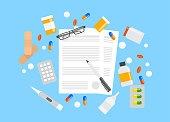 Health insurance form. Pills lying around the paper document. Medicine amd healthcare