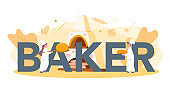 Baker and bakery typographic header concept. Chef in the uniform