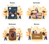 Barista concept set. Bartender making a cup of hot coffe. Energetic tasty beverage