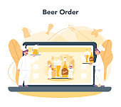 Brewery online service or platform. Craft beer production, brewing