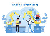 Technical engineering concept. Technology and science. Professional