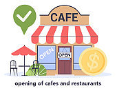 Restaurant and cafe business recovery. Opened cafe and public