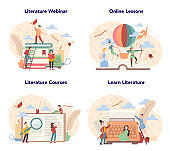 Literature school subject set. Webinar, course and online lesson. Idea of education and