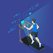 Young athletic man training on a treadmill. Active lifestyle and fitness. Speed runner