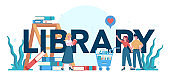 Library typographic header concept. Library staff holding and sorting book. Knowledge and