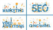 Set of marketing word with people around. SEO and omnichannel, video advertising.