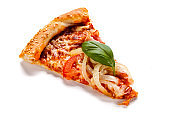 Sliced pizza with  pepperoni and vegetables on white background