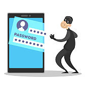 Thief steal personal data with password. Cyber crime and hacking concept. Data privacy