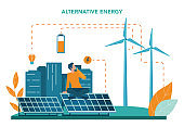 Alternative energy concept. Idea of ecology frinedly power