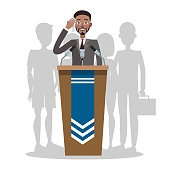 Fear of public speaking or glossphobia. Man is afraid of giving presentation to the audience.