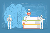 Machine learning concept. Artificial intelligence learning new algorithm and improve.