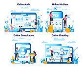 Audit online service or platform on differernt device concept set. Online business operation