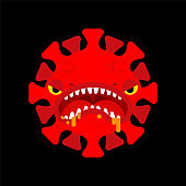 Coronavirus Monster isolated. Covid19 virus cartoon. Virus angry character pandemic