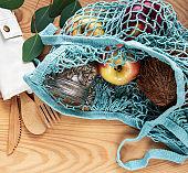 Mesh bag with fruits