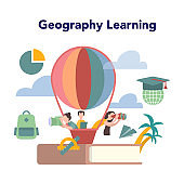 Geography concept. Global science studying the lands, features,