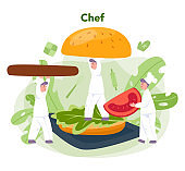 Fast food, burger house concept. Chef cook tasty hamburger with