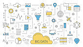 Big data concept. Modern computer technology. Analyzing digital information from the