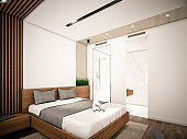 Computer generated image of Hotel Room. Architectural Visualization. 3D rendering. View 01