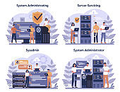 System administrator set. People working on computer and doing