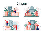 Female and male singer concept set. Performer singing with microphone.