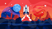 Space rocket launch with planets on the background. Idea of space research and