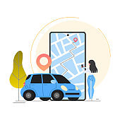 Car sharing service concept. Idea of vehicle share and transportation.