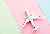 Airplane on pastel background