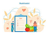 Nutritionist concept. Doctor help woman get in fit with healthy food