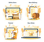 Brewery online service or platform set. Craft beer production, brewing process. Online store,