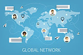 Abstract social network scheme. Global connection between business people. Idea of modern