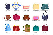 Bag for women set. Collection of handbag of different styles. Accessories and fashion