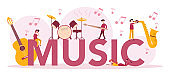 Music typographic header concept set. Young performer playing music with professional