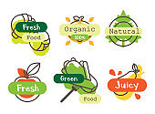 Set of fresh tasty fruits and vegetables icons. Idea of fresh and organic food