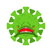 Coronavirus Monster isolated. Covid19 virus cartoon. Virus angry character pandemic
