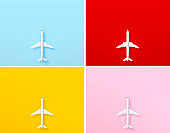 Model plane, airplane top view on pastel color background set 3d rendering. 3d illustration idea of travel, tourism, transportation and holiday card template minimal concept with space for text.